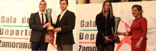 Merchan y Barrios recogiendo su premio. Foto: laopiniondezamora.es