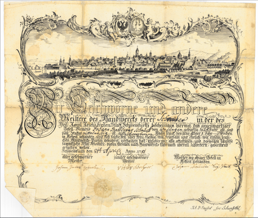 Gesellenbrief für einen Schneider aus dem Jahr 1781 mit Stadtansicht von Schweinfurt