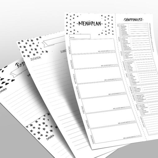 Checklisten zur Haushaltsplanung, Menüplanung, Einkaufen.