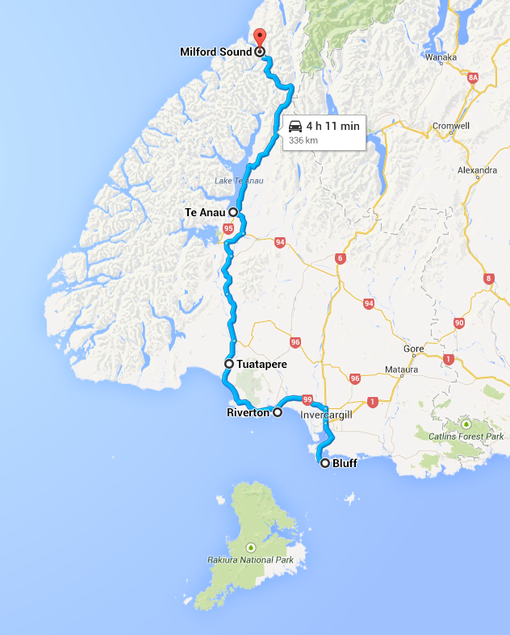 Our route from Bluff to Milford Sound (Google Maps)
