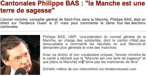 Philippe Bas au micro de Tendance Ouest, dimanche 27 mars 2011