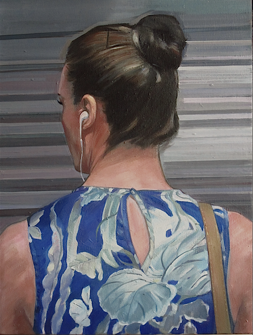 """Waiting for The L Train-flower patterned dress, oil, 19""""x25"""", 2013"""
