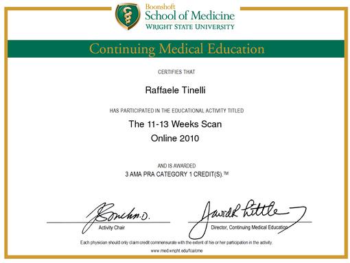 Il Dottor Raffaele Tinelli esegue questo esame con accreditamento rilasciato dalla Fetal Medicine Foundation