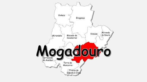 Localização do concelho de Mogadouro no distrito de Bragança