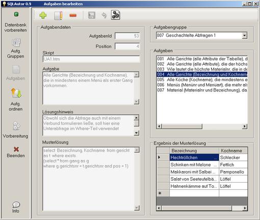 Bearbeitung einer Aufgabe im SQLAutor