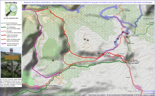 Cartographie du passage du Pescamou, au large du Col de La Pierre Saint-Martin. Le risque était élevé dans ce relief tourmenté de se retrouver à Sainte-Engrâce en France, plutôt qu'en Espagne à Belagua...