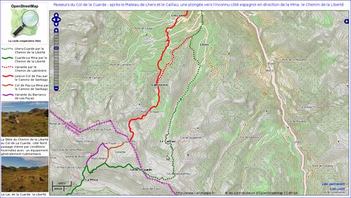 Cartographie du passage de La Cuarde : en vert, le Chemin de la Liberté, depuis Lhers jusqu'à La Mina