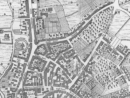 Westley's map of 1731, oriented with West at the top where Hinklys can be made out on the allotments plots.