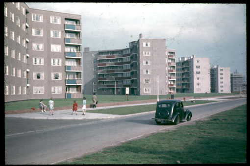 Flats on Hollybank Road 1955 - Photo by D J Norton - see Acknowledgements.