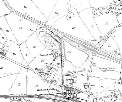 Hamstead Colliery, Ordnance Survey map now in the public domain, uploaded to Wikipedia by Oosoom.