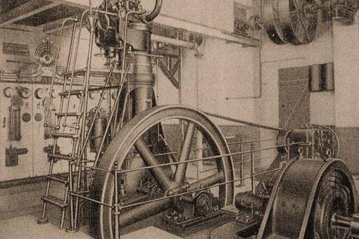 35-PS-Dieselmotor von Fried. Krupp, Bj 1898, im damaligen Motorenraum der Wind- und Dampfmühle Heinrich N. Clausen in Satrup. Laufzeit 1916-1937