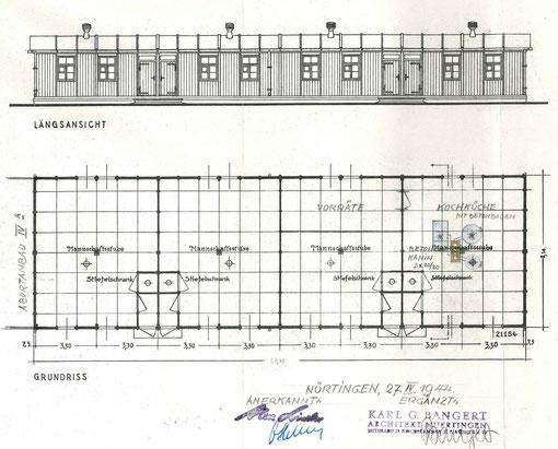 Plan der Baracke auf dem Lager Linder, in der Anton Reinhardt untergebracht war. Quelle: Stadtarchiv Nürtingen, alle Rechte vorbehalten!