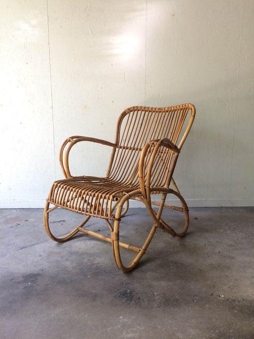 Dirk Van Sliedrecht pour Rohe Noordwolde, fauteuil rotin vintage