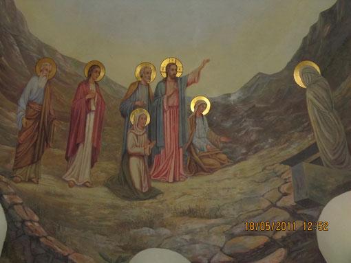 настенная роспись церкви, изображающая воскресение Иисусом Лазаря.