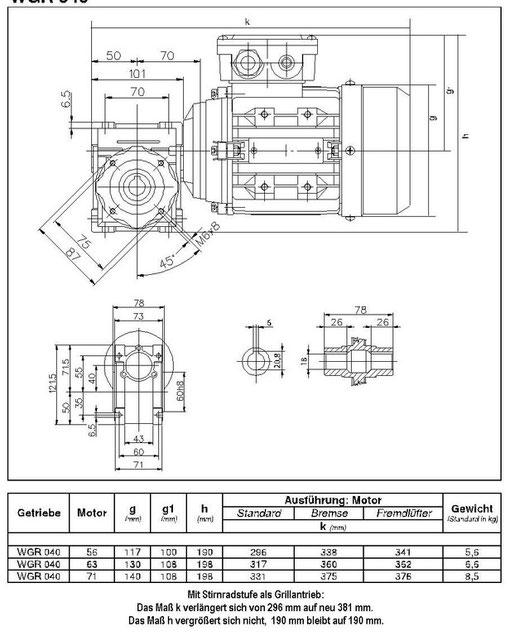 Grillmotor Maßbild Getriebe mit Motor