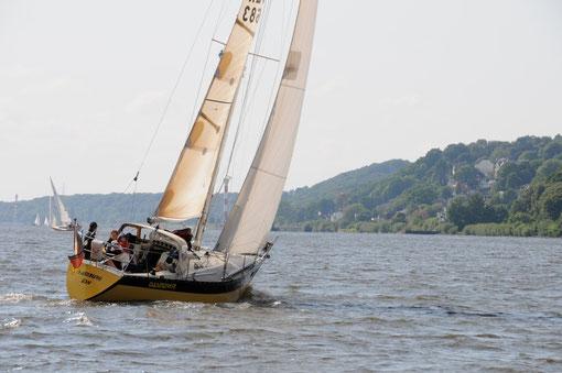 """""""DASINDWIR""""- kreuzend auf der Elbe vor Blankenese"""