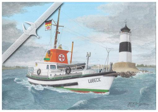 """DGzRS Boot """"Lübeck"""" am Leuchtturm Schleimünde, 1960, Aquarell"""