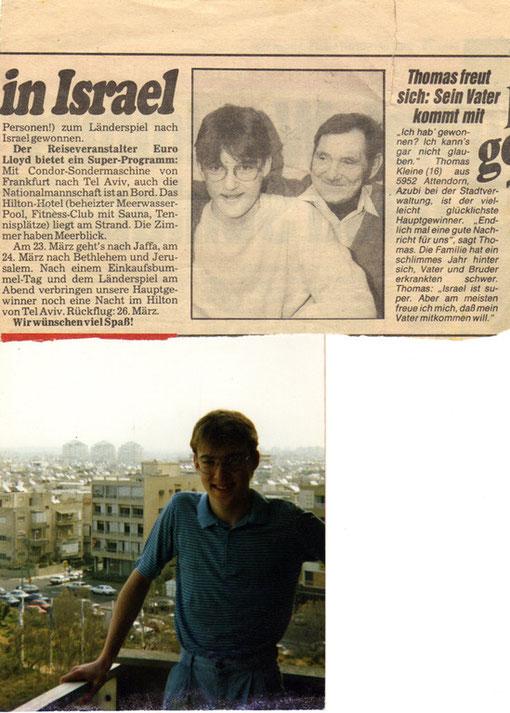 Der Bericht in der Bild am Sonntag und ein knackiger Jüngling in Tel Aviv 1987.
