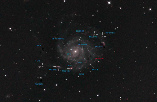 Sehr viele H-Regionen in M101 haben eigene Katalognummern.