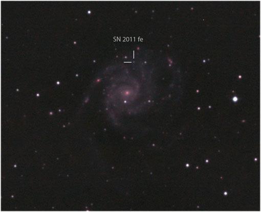 Messier 101 mit der Supernova 2011 fe