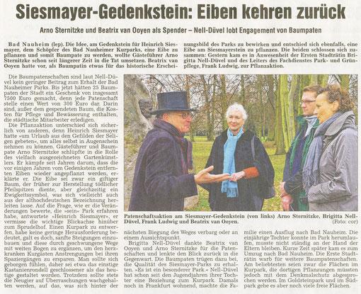 Siesmayer-Gedenkstein: Eiben kehren zurück, Artikel: Brigitte Lepper, Foto: Corinna Weigelt, WZ, 29.11.2012