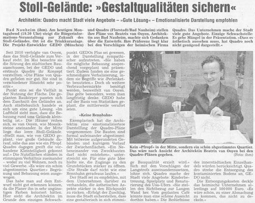 Stoll-Gelände: Gestaltqualitäten sichern - Artikel und Foto: Petra Ihm-Fahle, WZ, 11.06.2012