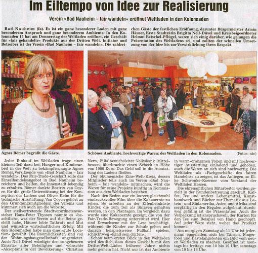 Weltladen Bad Nauheim: Im Eiltempo von der Idee zur Realisation, Artikel Frauke Ahlers, Foto Nici Merz, WZ 03.05.2013