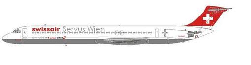 Swissair MD-81, gemeinsamer Shuttledienst zwischen Zürich und Wien/Courtesy and Copyright: md80design