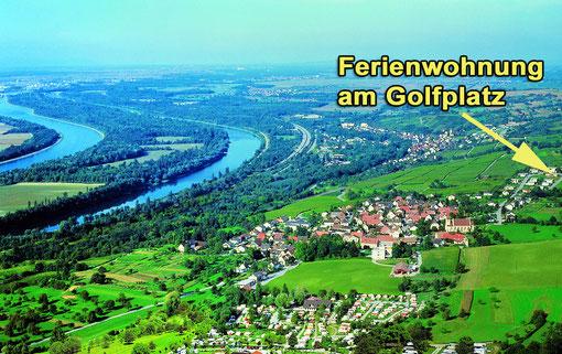 Bad Bellingen Bamlach. Luftbild mit Aussicht über die Rheinebene