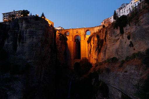 Puente Nuevo in Ronda at night, Andalusia, blog lonelyroadlover