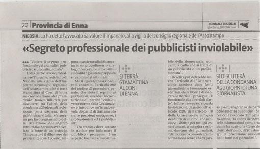 GIORNALE DI SICILIA Lunedì 24 ottobre 2011