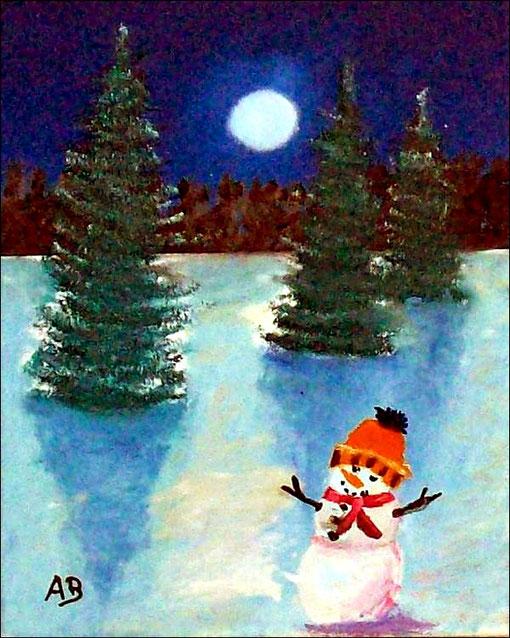 Winternacht-Ölmalerei-Schnee-Landschaft-Bäume-Wald-Fichten-Tannen-Schneemann-Vollmond-Himmel-Nacht-Landschaftsmalerei-Ölgemälde-Ölbild