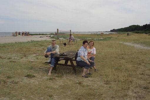Pause während unseres Rundganges auf dem Campingplatz