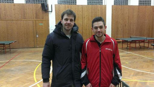 Timo Boll mit dem Shootingstar unserer Ersten Mannschaft, Max Nötzold. Foto: J. Stöhr
