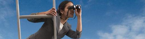 Karrierefrau auf Leiter: Job Coaching