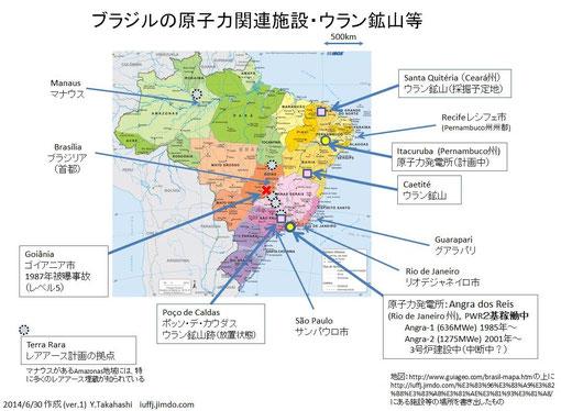 ブラジルの原子力関連施設・ウラン鉱山等