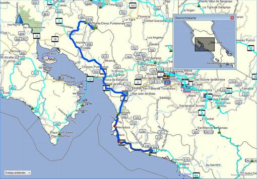 Der Weg von Monteverde über Tarcoles nach Playa Basura