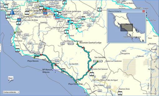 Der Weg von der Playa Basura über den NP Manuel Antonio nach Playa Dominical. Dann weiter nach San Gerardo und dann in die Quetzal Lodge