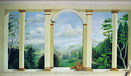 Trompe l'oeil painting of columns, animals and a landscape