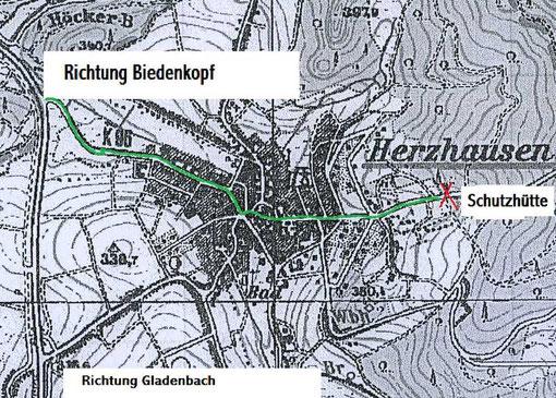 Anfahrt zur Schutzhütte Herzhausen