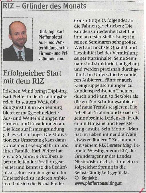 Erfolgreicher Start mit dem RIZ Niederösterreich