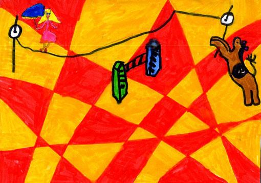 子供の絵、サーカス、お絵描き