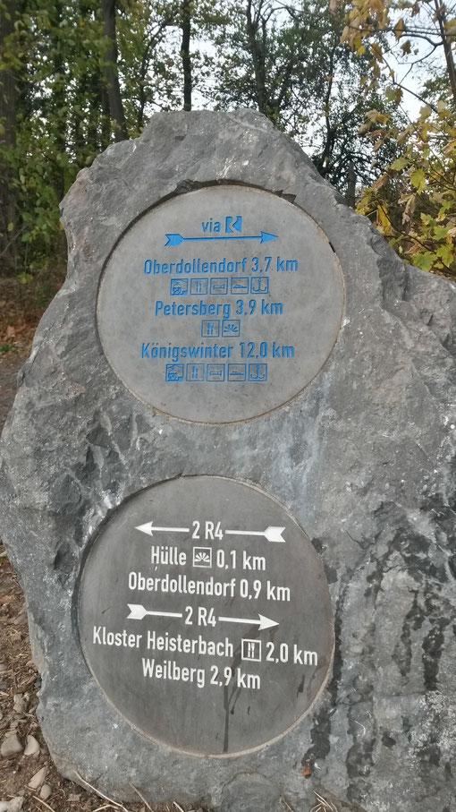 Überall im Siebengebirge zu finden - ausgezeichnete Wanderwege mit Distanzangaben