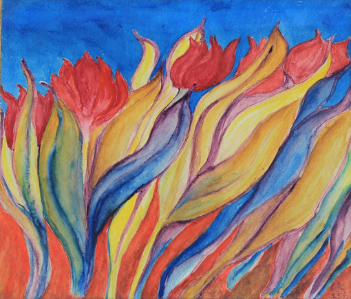 Tulpen/Tulips, Aquarell, 27x32 cm, 1954. Künstler/Artist: Dr. Elfriede-Lore Schindler von Wallenstern,   in Privatbesitz/in private hands.