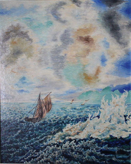 """STORM"", Oel auf Karton/Oil on pasteboard, 40x50 cm, 1954. Künstler/Artist: Günther Schindler von Wallenstern, in Privatbesitz/in private hands."