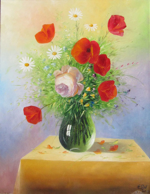 Blumenvase, Öl auf Leinwand, 40 x 50 cm/Flower-vase, oil on canvas, 40 x 50 cm.