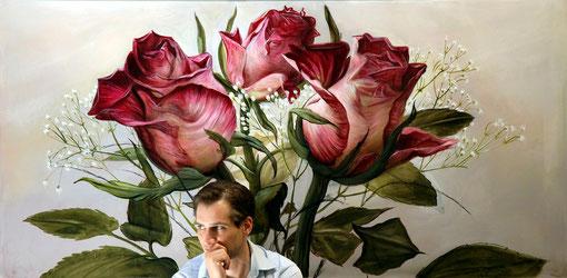 """Lukas Johannes Aigner, """"Blumenstilleben"""", Acryl auf MDF, 2011"""