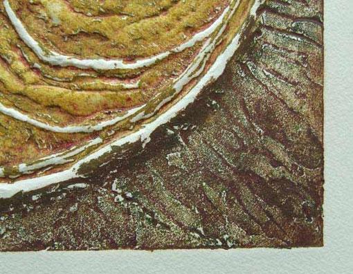 """Ausschnitt aus der Carborundumradierung """"Ammonit 1"""""""