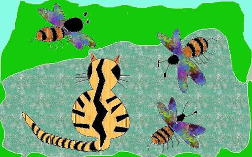 Katze und Biene im Mythos