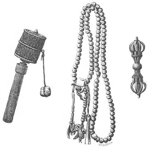 Desgodins (1826-1913), La mission du Thibet de 1855 à 1870. Instruments de prières.